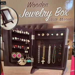 Wooden Jewelry Box W/ Mirror